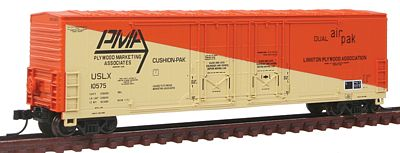 Atlas Evans 53' Double Plug-Door Boxcar Plywood Marketing -- N Scale Model Train Freight Car -- #50001405