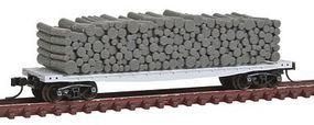 Atlas 42 Pulpwood Flatcar w/Open Ends & Load Undecorated N Scale Model Train Freight Car #50001425