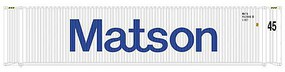 Atlas 45 Corrugated Container 3-Pack - Assembled Matson Set 2 (white, blue, Billboard Lettering) - N-Scale