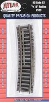 Atlas Code 83 Snap Track 1/2 Section - 18 Radius HO Scale Nickel Silver Model Train Track #533