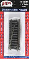Atlas Code 83 1/3 18 Radius Track (4) HO Scale Nickel Silver Model Train Track #534