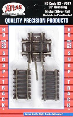 Atlas Code 83 Crossing w/ Brown Ties - 90 Degrees -- HO Scale Nickel Silver Model Train Track -- #577