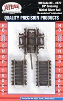 Atlas Code 83 Crossing w/ Brown Ties - 90 Degrees HO Scale Nickel Silver Model Train Track #577