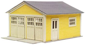 Atlas Garage - Laser-Cut Micro Plywood Kit -- HO Scale Model Railroad Building -- #740