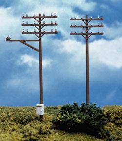 Atlas Telephone Poles (12) -- HO Scale Model Railroad Trackside Accessory -- #775