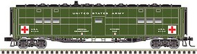 Atlas-O Troop Hospital Car - 2-Rail - Ready to Run US Army (Pullman Green, white, Red Cross Logos) - O-Scale