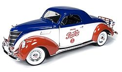 Auto World Diecast 1937 Lincoln Zephyr Coupe Pepsi -- Diecast Model Car -- 1/18 Scale -- #205