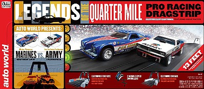 Auto World Racing HO Legends of the Quarter Mile US Army & Marines Slot Car 13' Racing Set