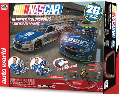 Auto World Racing HO Nascar Team Hendrick Motorsports Slot Car 26' Racing Set