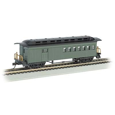 Bachmann 1860-1880 Combine Painted/Unlettered Green -- HO Scale Model Train Passenger Car -- #13505