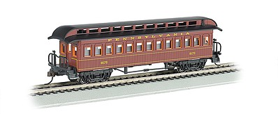 Bachmann Old-Time Rounded-End Coach Pennsylvania RR -- HO Scale Model Train Passenger Car -- #15102