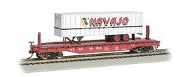 Bachmann 526 Flat w/35 Trailer Santa Fe Navajo HO Scale Model Train Freight Car #16701