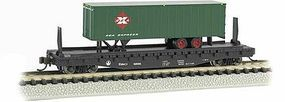 Bachmann 526 Flatcar with trailer Baltimore & Ohio N Scale Model Train Freight Car #16752