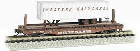 Bachmann 526 Flatcar with piggy Western Maryland N Scale Model Train Freight Car #16756