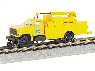 Bachmann MOW Hi Rail Equip Truck w/Crane Conrail -- HO Scale Model Train Freight Car -- #16903