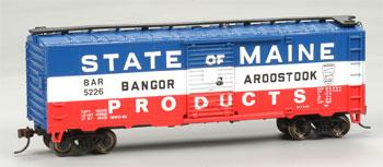 Bachmann 40' Boxcar BAR State of Maine Products 5226 -- HO Scale Model Train Freight Car -- #17038
