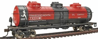 Bachmann 40' 3-Dome Tank Transcontinental Oil #961 -- HO Scale Model Train Freight Car -- #17142