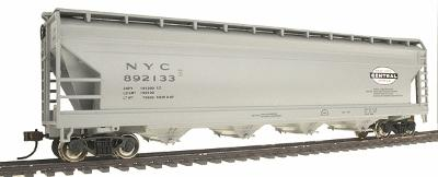 Bachmann 56' ACF Center-Flow Covered Hopper New York Central -- HO Scale Model Train Freight Car -- #17523
