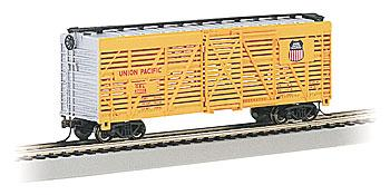 Bachmann 40' Stock Car Union Pacific -- HO Scale Model Train Freight Car -- #18501