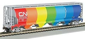 Bachmann 4 Bay Cylindrical Grain Hopper CN Demonstrator N Scale Model Train Freight Car #19151