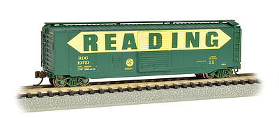 Bachmann 50' Sliding Door Boxcar Reading -- N Scale Model Train Freight Car -- #19461