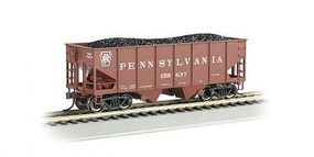 Bachmann 55T 2-Bay Hopper w/Coal Load PRR #158637 HO Scale Model Train Freight Car #19507