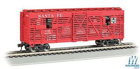 Bachmann 40 Animated Stock Car Santa Fe with Cows HO Scale Model Train Freight Car #19705