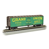 Bachmann 40 Wood-Side Reefer Grand Union HO Scale Model Train Freight Car #19806
