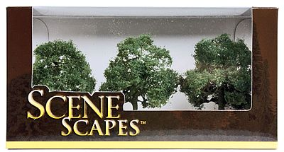 Bachmann 3''-3-1/2'' Oak Trees (3/pk) -- Model Railroad Scenery -- #32013