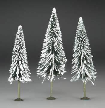 Bachmann 8-10 Inch Pine Trees w/Snow (3) -- O Scale Model Railroad Scenery -- #32202