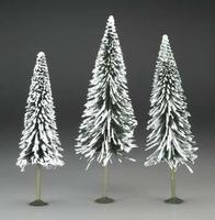 Bachmann 8-10 Inch Pine Trees w/Snow (3) O Scale Model Railroad Scenery #32202