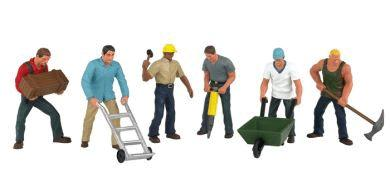 Bachmann Construction Workers (6) -- O Scale Model Railroad Figure -- #33155
