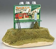 Bachmann Billboard School Zone Drive Carefully O Scale Model Railroad Roadway Accessory #42602