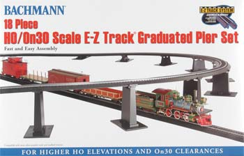 Bachmann EZ Graduated Pier Set 18pc HO/On30 -- HO Scale Model Railroad Operating Accessory -- #44595