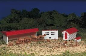 Bachmann Farm Buildings w/Animals Snap Kit HO Scale Model Railroad Building #45152