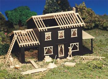 Bachmann House Under Construction Snap Kit -- HO Scale Model Railroad Building -- #45191