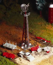 Bachmann Windmill w/Farm Machinery Kit -- O Scale Model Railroad Trackside Accessory -- #45603