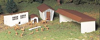 Bachmann Farm Out-Buildings w/Animals Snap Kit (3) -- O Scale Model Railroad Building -- #45604