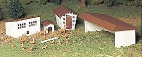 Bachmann Farm Out-Buildings w/Animals Snap Kit (3) O Scale Model Railroad Building #45604