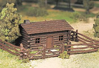 Bachmann Log Cabin w/Fence Snap Kit -- O Scale Model Railroad Building -- #45982