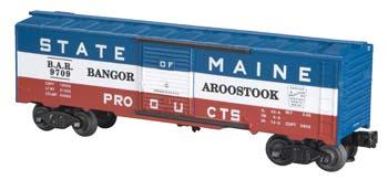 Bachmann 40' Steel Boxcar - 3-Rail Bangor & Aroostook #9709 -- O Scale Model Train Freight Car -- #47049
