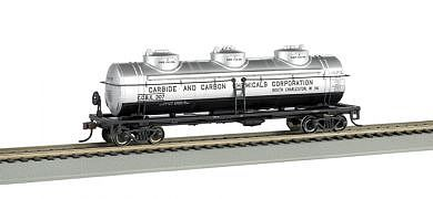 Bachmann 3-Dome Tank Car - 3-Rail Carbide & Carbon Chemicals Co -- O Scale Model Train Freight Car -- #47114