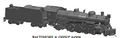 Bachmann USRA Light 2-8-2 DCC B&O #4508 w/Med Tender -- HO Scale Model Train Steam Locomotive -- #54302