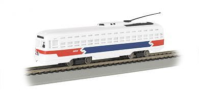 Bachmann PCC Streetcar Philadelphia Septa (R/W/B) -- HO Scale Trolley and Hand Car -- #62937