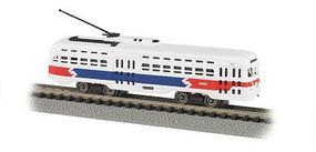 Bachmann PCC Streetcar Philadelphia Septa (R/W/B) N Scale Trolley and Hand Car #62997