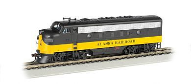 Bachmann F7 A Alaska (Black/Yellow) -- HO Scale Model Train Diesel Locomotive -- #63710