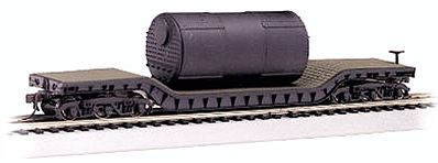 Bachmann 52' Flatcar w/Boiler -- N Scale Model Train Freight Car -- #71395