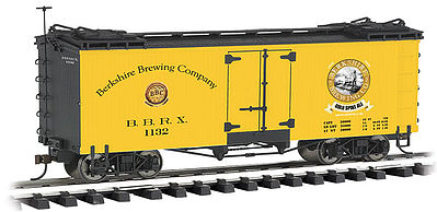 Bachmann Reefer Berkshire Brewing Co. Golden Spike -- G Scale Model Train Freight Car -- #93265
