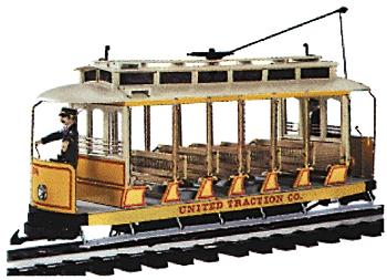 Bachmann Open Streetcar w/Lights -- Standard DC -- United Traction #504 (Yellow, cream) -- G Scale -- #93938