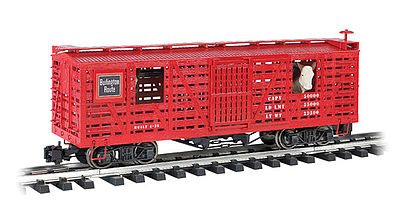 Bachmann Animated Stock Car CB&Q with Cattle -- G Scale Model Train Freight Car -- #98702
